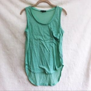 Edge Teal Sleeveless High Low Tank Top with Pocket